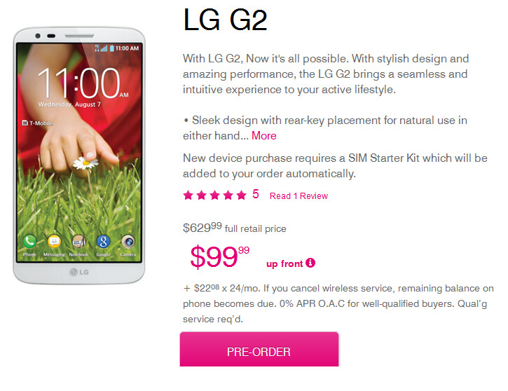 T-Mobile is taking pre-orders for the LG G2 - LG G2 release dates and pricing for T-Mobile, AT&T and Verizon