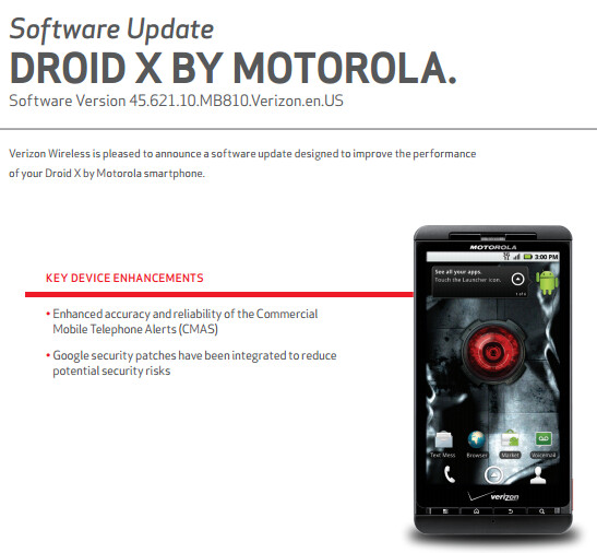 Security update is coming to the ancient Motorola DROID X - Motorola DROID X gets security update (and no, we don't mean the Motorola Moto X)