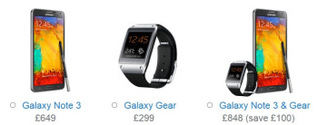 Samsung posts pricing for Galaxy Note 3 and Galaxy Gear in the UK