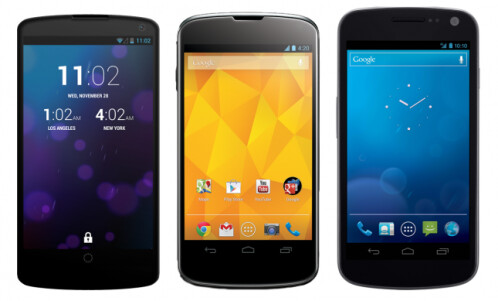 Nexus 5, Nexus 4, Galaxy  Nexus, from left to  right