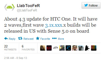 Android 4.3 with Sense 5.0 is heading for the HTC One in the U.S.