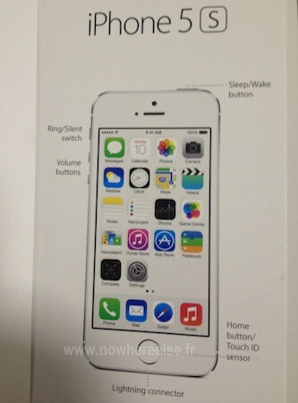Alleged Apple iPhone 5S render from the user guide - Purported Apple iPhone 5S user guide diagram shows new Home button/Touch ID sensor