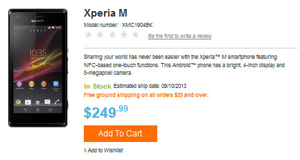 The Sony Xperia M can be purchased unlocked, in the U.S. - Sony Xperia M, unlocked, now on sale in the states