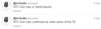 Tweet from evleaks confirms HTC One Max name and Sprint as a destination