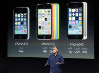 Apple's Philip Schiller stands in front of pricing information for Apple's new line up