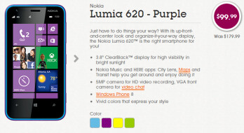 The Nokia Lumia 620 is now $99.99 from Aio