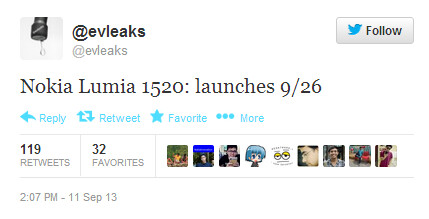 Tweet from evleaks calls for September 26th unveiling of Nokia Lumia 1520 - Nokia Lumia 1520 phablet now tipped to be introduced on September 26th