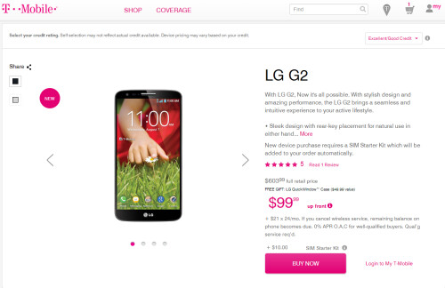 LG G2 released on AT&T and T-Mobile