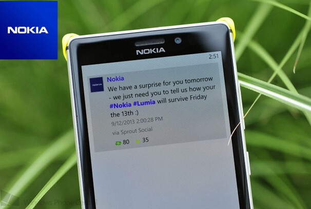 Nokia has something to tell you on Friday the 13th - Friday the 13th means a message from Nokia, not Jason and a hockey mask