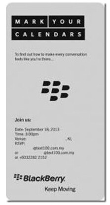 BlackBerry is sending out invites to an international event