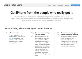 Chinese consumers can reserve an Apple iPhone 5s or Apple iPhone 5c on September 17th