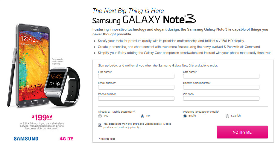 The Samsung Galaxy Note 3 can be pre-ordered from T-Mobile starting Wednesday, September 18th - T-Mobile to take pre-orders for Samsung Galaxy Note 3 starting September18th