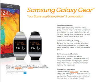 Pre-order the Samsung Galaxy Gear watch on Tuesday from AT&T
