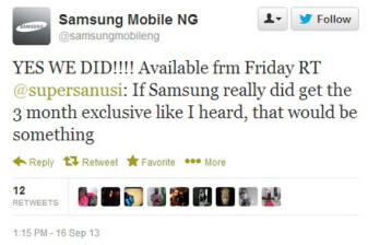 Tweet from Samsung Nigeria confirms the OEM's exclusive three month period with BBM