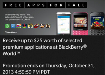 Canadian BlackBerry owners get $25 credit toward the purchase of premium apps