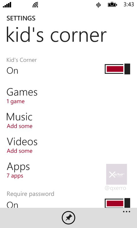 Kid's corner, require password option