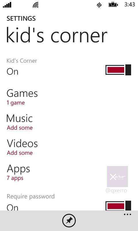 Kid's corner, require password option