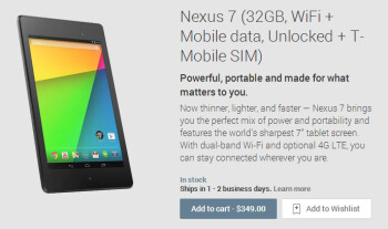 The Google Nexus 7 4G LTE for AT&T and T-Mobile (shown) is now available