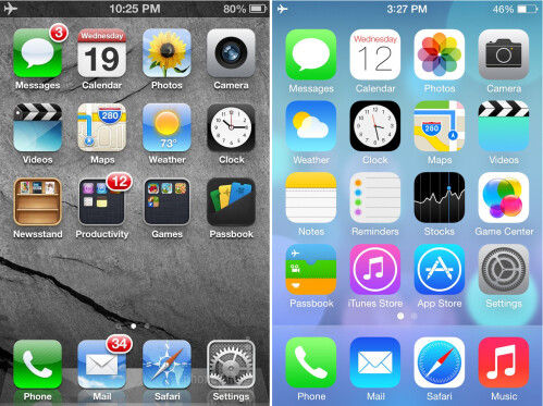 iOS 6 vs iOS 7 design differences