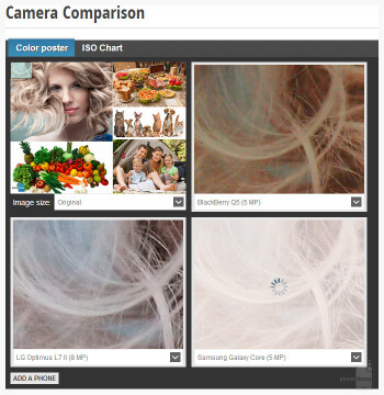 Preview of PhoneArena's camera comparison tool