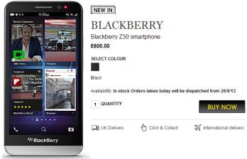 Pre-order the BlackBerry Z30 from U.K. retailer Selfridges