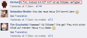 Nestle says Android 4.4 is coming next month - Give us a break: Nestle's Facebook page confirms October Android 4.4 launch