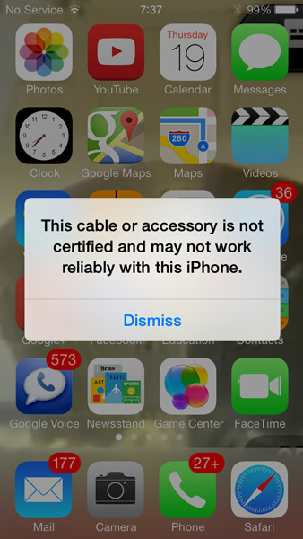 If you use an unauthorized charger with iOS 7, you should see this warning