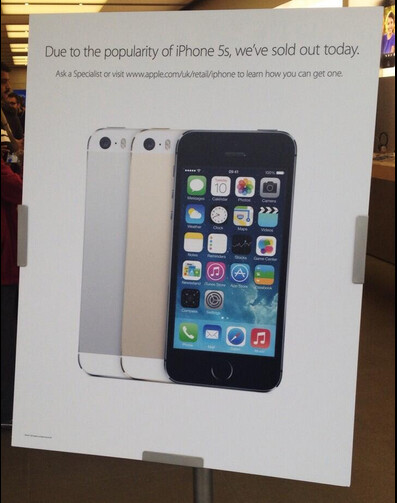 Apple Store in the U.K. sells out of the Apple iPhone 5s - At least one U.K. Apple Store sells out of the Apple iPhone 5s