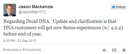 HTC President Jason Mackenzie tweets about Android 4.3 and the HTC One