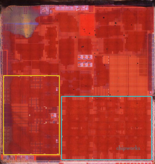 Apple A7 chip. In yellow are are the two Cyclone CPU cores, in blue - the quad-core GPU