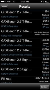Apple iPhone 5s GPU tests