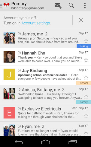 Screenshots of the updated Gmail app