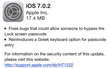 Apple is sending out iOS 7.0.2 on Thursday, to repair some security bugs