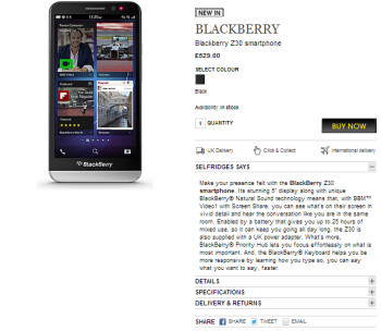 The BlackBerry Z30 can be purchased from Selfridges in the U.K.