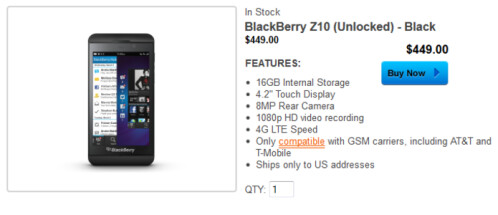 BlackBerry is selling some of its new models unlocked from its web site