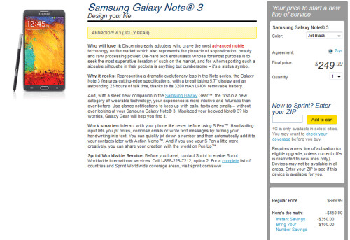 Samsung Galaxy Note 3 and Samsung Galaxy Gear smartwatch now available from Sprint and AT&T