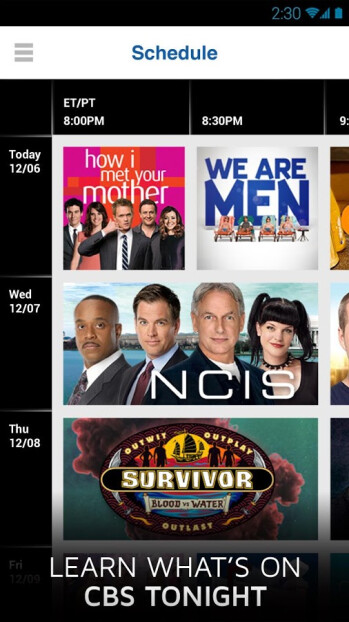 The CBS app is now available for Android (shown), iOS and Windows Phone