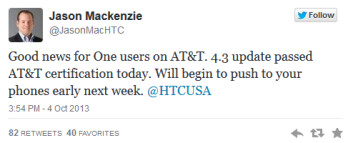 Tweet from HTC America's president says that the Android 4.3 update for AT&T's HTC One will be pushed out early next week