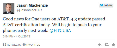 Tweet from HTC America's president says that the Android 4.3 update for AT&T's HTC One will be pushed out early next week - AT&T's Android 4.3 update for HTC One gets certified; update coming next week