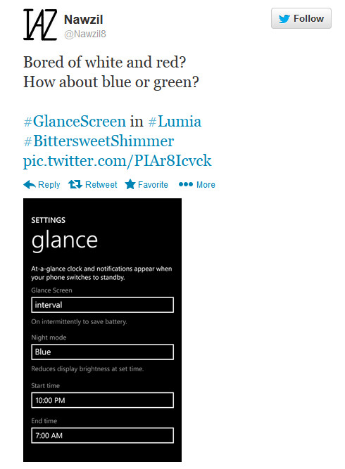 Color options are coming to the Nokia Lumia's glance screen night mode - Bittersweet shimmer brings color options to Nokia Lumia's glance screen