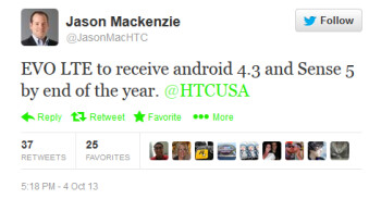 Tweet from HTC America presidemt McKenzie is tweet news to owners of the HTC 4G LTE