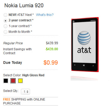 Nokia Lumia 920 is now 99 cents on contract at AT&T