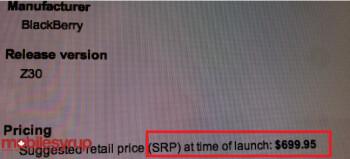 Leaked memo shows SRP of $699.95 for the BlackBerry Z30 on Bell