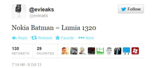 A tweet from evleaks tells us that a Nokia Batman phone is coming - No Joker; tweet outs Nokia Lumia 1320 as the Nokia Batman