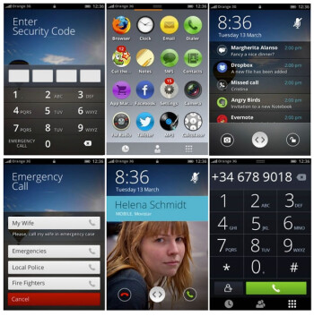 Montage of screenshots for the first version of Firefox OS