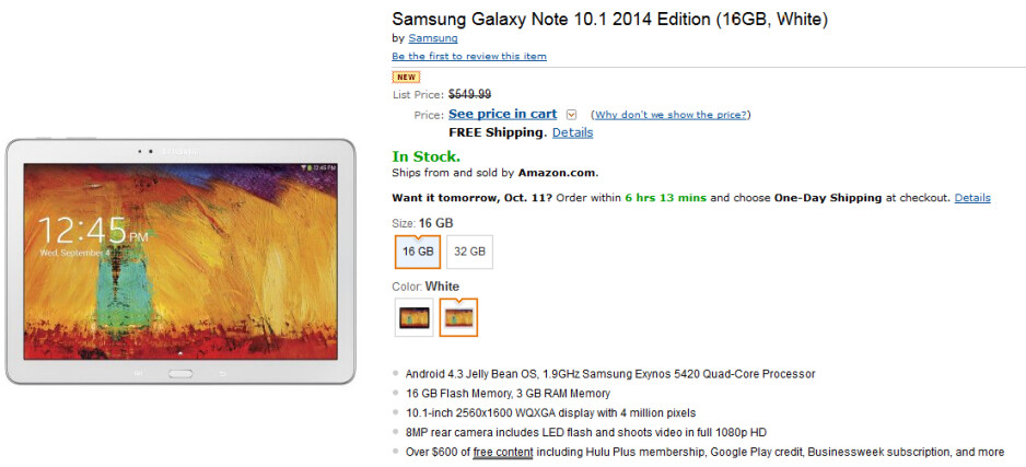The Samsung Galaxy Note 10.1-2014 edition is available at Amazon - Wi-Fi version of the Samsung Galaxy Note 10.1-2014 edition is released