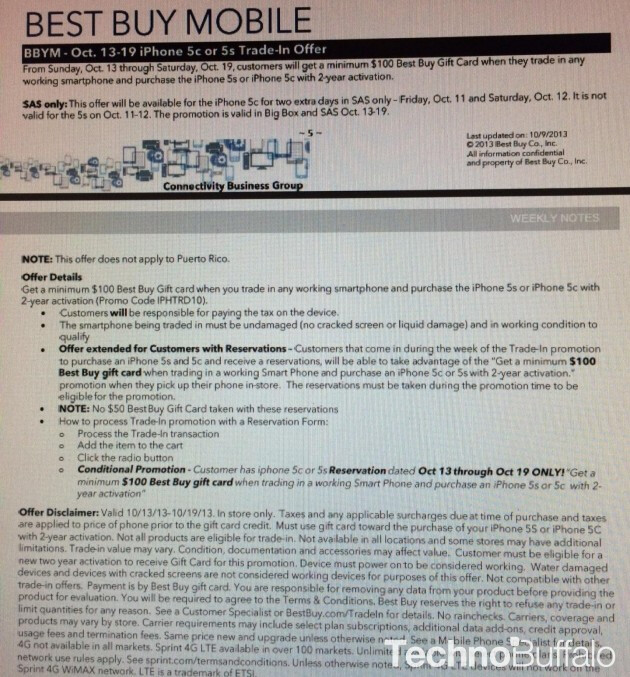 Leaked document reveals Best Buy's trade-in offer for the new Apple iPhone models - Rumored deal has Best Buy giving you $100 for your trade toward an Apple iPhone 5s or iPhone 5c