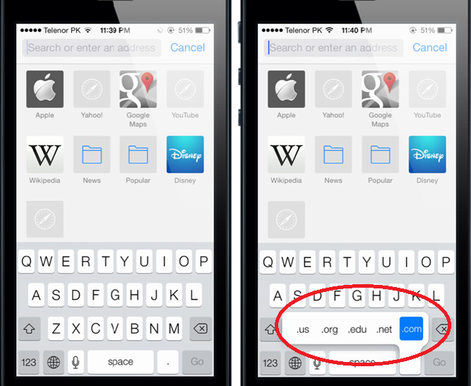 A long press on the period will bring back the .com button on iOS 7 - Finding the .com button on iOS 7