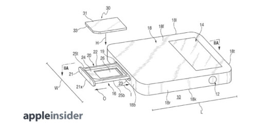 Images from Apple's patent application for a magnetic SIM tray