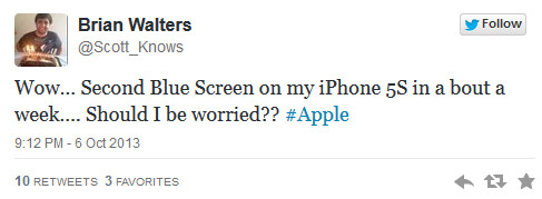 """Tweet reports Blue Screen of Death on the Apple iPhone 5s - Watch as an Apple iPhone shows the """"Blue Screen of Death"""""""